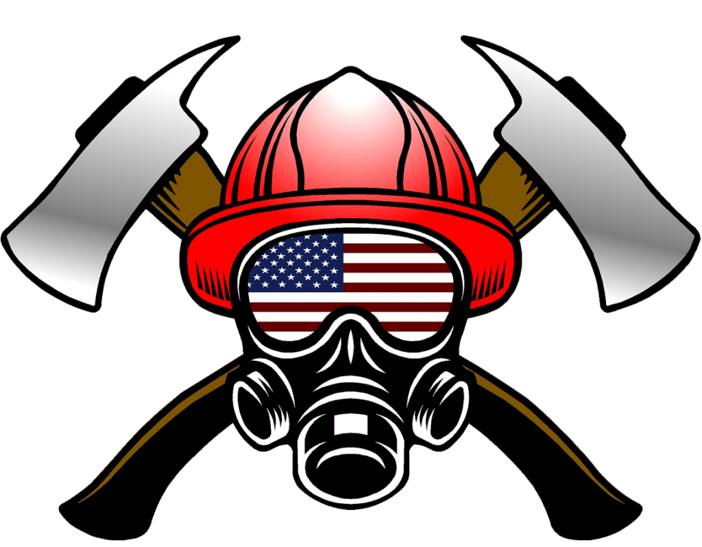 Fire Helmet Flag Decals