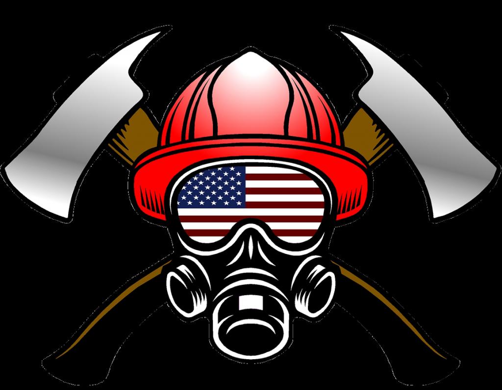 Fire Helmet Flag Decals